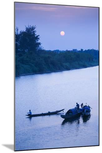 Vietnam, Dmz Area. Dong Ha, Cam Lo River, Boats at Sunset-Walter Bibikow-Mounted Photographic Print