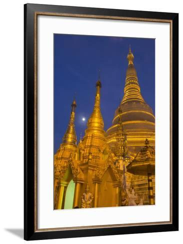 Myanmar, Yangon. Golden Stupa and Temples of Shwedagon Pagoda at Night with Moon-Brenda Tharp-Framed Art Print