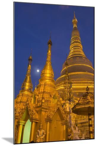 Myanmar, Yangon. Golden Stupa and Temples of Shwedagon Pagoda at Night with Moon-Brenda Tharp-Mounted Photographic Print