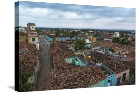 Cuba, Trinidad. Storm Clouds Above the Rooftops of Town-Brenda Tharp-Stretched Canvas Print