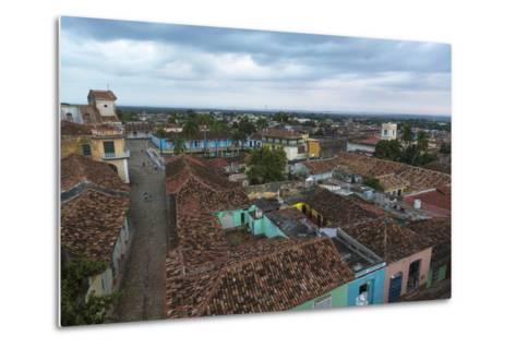 Cuba, Trinidad. Storm Clouds Above the Rooftops of Town-Brenda Tharp-Metal Print