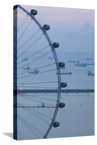 Singapore, Singapore Flyer, Giant Ferris Wheel, Elevated View, Dawn-Walter Bibikow-Stretched Canvas Print