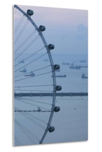 Singapore, Singapore Flyer, Giant Ferris Wheel, Elevated View, Dawn-Walter Bibikow-Metal Print