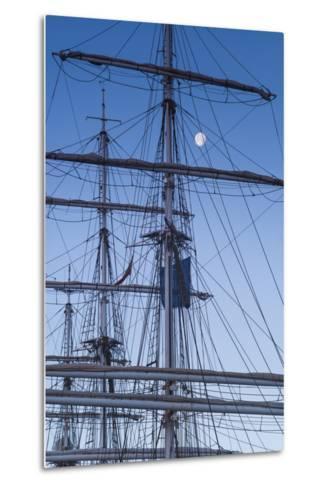 Spain, Canary Islands, Lanzarote, Arecife, Norwegian Tall Ship Christian Radich in Port, Dawn-Walter Bibikow-Metal Print