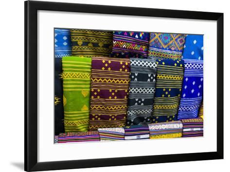 Colorful Traditional Cloth for Sale, Paro, Bhutan-Michael Runkel-Framed Art Print