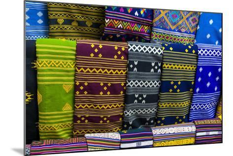 Colorful Traditional Cloth for Sale, Paro, Bhutan-Michael Runkel-Mounted Photographic Print