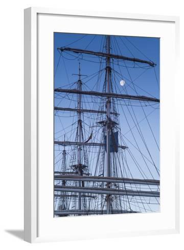 Spain, Canary Islands, Lanzarote, Arecife, Norwegian Tall Ship Christian Radich in Port, Dawn-Walter Bibikow-Framed Art Print