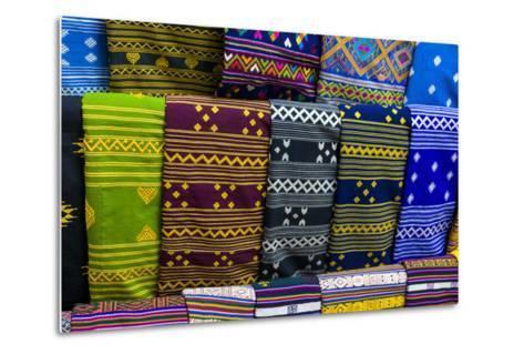 Colorful Traditional Cloth for Sale, Paro, Bhutan-Michael Runkel-Metal Print