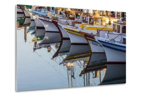 Fishing Boats Reflect in Morning Light in Harbor in Fisherman's Wharf in San Francisco, California-Chuck Haney-Metal Print