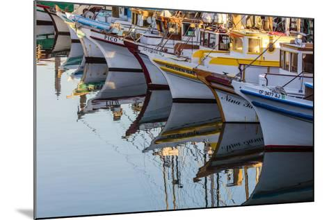 Fishing Boats Reflect in Morning Light in Harbor in Fisherman's Wharf in San Francisco, California-Chuck Haney-Mounted Photographic Print