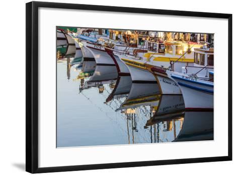 Fishing Boats Reflect in Morning Light in Harbor in Fisherman's Wharf in San Francisco, California-Chuck Haney-Framed Art Print