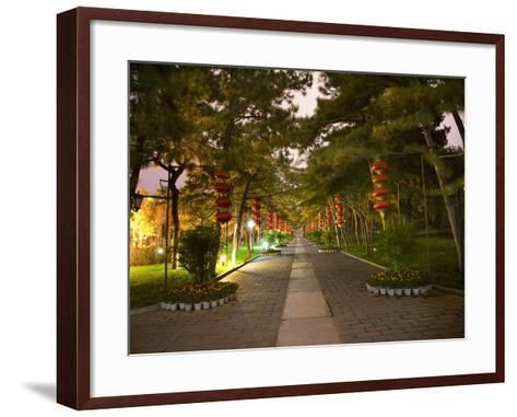 Red Lanterns Temple of the Sun Park, Beijing, China Night Shot-William Perry-Framed Art Print
