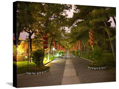 Red Lanterns Temple of the Sun Park, Beijing, China Night Shot-William Perry-Stretched Canvas Print