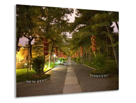 Red Lanterns Temple of the Sun Park, Beijing, China Night Shot-William Perry-Metal Print