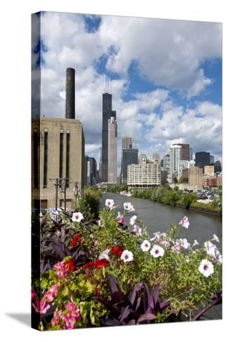 Chicago Skyline and River Looking North-Alan Klehr-Stretched Canvas Print
