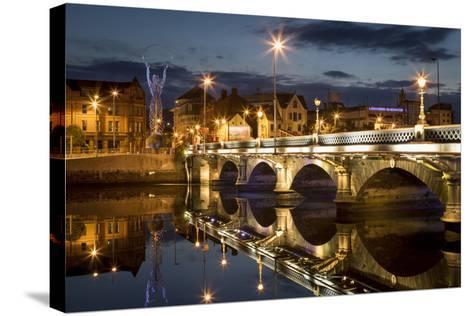 Beacon of Hope Statue, Lagan Bridge and Town of Belfast, County Antrim, Northern Ireland, Uk-Brian Jannsen-Stretched Canvas Print