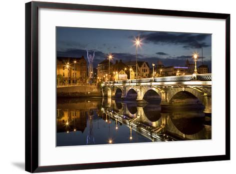 Beacon of Hope Statue, Lagan Bridge and Town of Belfast, County Antrim, Northern Ireland, Uk-Brian Jannsen-Framed Art Print