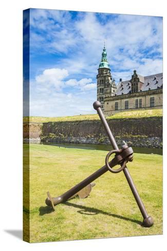 Huge Old Anchor before UNESCO World Heritage Site Kronborg Renaissance Castle, Helsingor, Denmark-Michael Runkel-Stretched Canvas Print