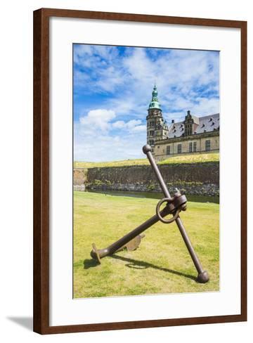 Huge Old Anchor before UNESCO World Heritage Site Kronborg Renaissance Castle, Helsingor, Denmark-Michael Runkel-Framed Art Print