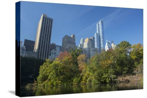 High-Rise Buildings Along from Inside Central Park on a Sunny Fall Day, New York-Greg Probst-Stretched Canvas Print