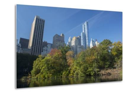 High-Rise Buildings Along from Inside Central Park on a Sunny Fall Day, New York-Greg Probst-Metal Print