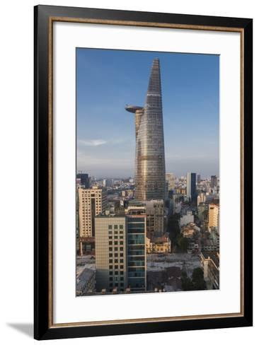 Vietnam, Ho Chi Minh City. Elevated City View with Bitexco Tower, Dawn-Walter Bibikow-Framed Art Print