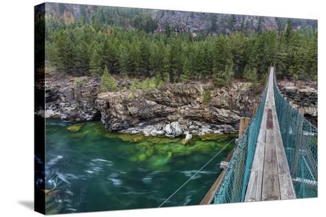Swing Bridge over the Kootenai River Near Libby, Montana, Usa-Chuck Haney-Stretched Canvas Print
