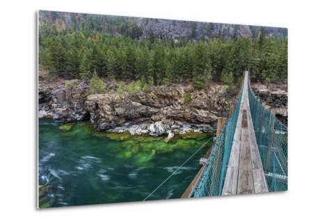 Swing Bridge over the Kootenai River Near Libby, Montana, Usa-Chuck Haney-Metal Print