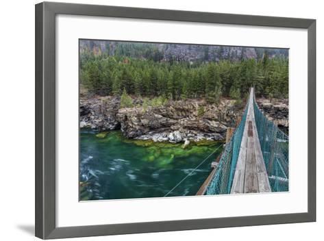 Swing Bridge over the Kootenai River Near Libby, Montana, Usa-Chuck Haney-Framed Art Print