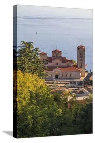 Macedonia, Ohrid, Lake Ohrid, Saint Panteleimon Monastery on Plaosnik-Emily Wilson-Stretched Canvas Print