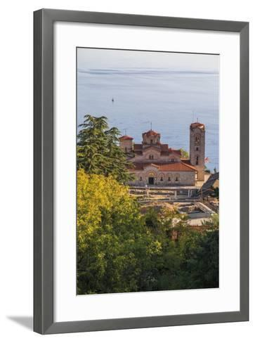 Macedonia, Ohrid, Lake Ohrid, Saint Panteleimon Monastery on Plaosnik-Emily Wilson-Framed Art Print