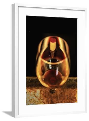 Washington State, Walla Walla. the Illusion of a Bottle Inside a Glass in a Walla Walla Winery-Richard Duval-Framed Art Print