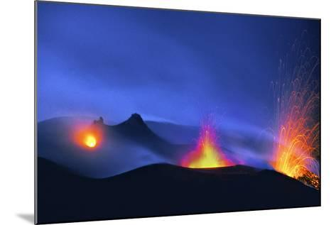 Italy, Stromboli. Long Exposure Image of Three Eruptions at Night-David Slater-Mounted Photographic Print