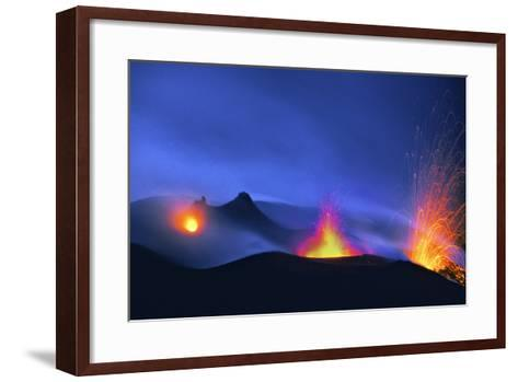 Italy, Stromboli. Long Exposure Image of Three Eruptions at Night-David Slater-Framed Art Print