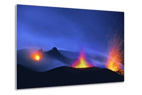Italy, Stromboli. Long Exposure Image of Three Eruptions at Night-David Slater-Metal Print
