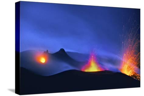 Italy, Stromboli. Long Exposure Image of Three Eruptions at Night-David Slater-Stretched Canvas Print