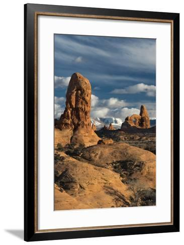 Utah, Arches National Park. Turret Arch, Monolith, and Clouds and the La Sal Mountains at Sunset-Judith Zimmerman-Framed Art Print