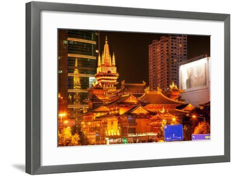 Golden Temples Roof Top Jing an Tranquility Temple, Central Shanghai, China-William Perry-Framed Art Print