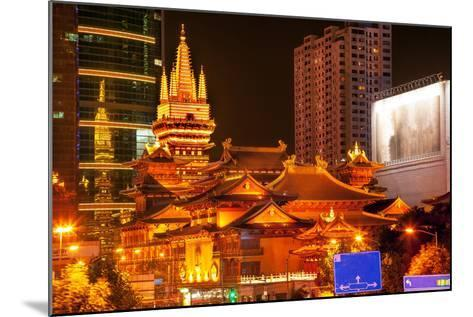 Golden Temples Roof Top Jing an Tranquility Temple, Central Shanghai, China-William Perry-Mounted Photographic Print