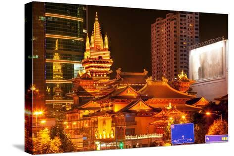 Golden Temples Roof Top Jing an Tranquility Temple, Central Shanghai, China-William Perry-Stretched Canvas Print
