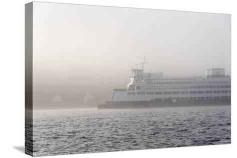 Washington State, Puget Sound. Ferry Emerges from Dense Fog-Trish Drury-Stretched Canvas Print