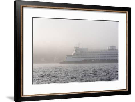 Washington State, Puget Sound. Ferry Emerges from Dense Fog-Trish Drury-Framed Art Print