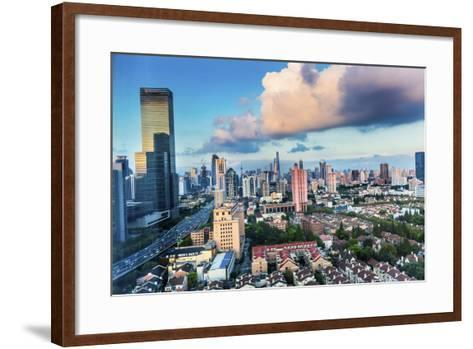 Puxi Pudong Buildings World Financial Center Jinmao Tower Modern Skyscrapers Shanghai, China-William Perry-Framed Art Print