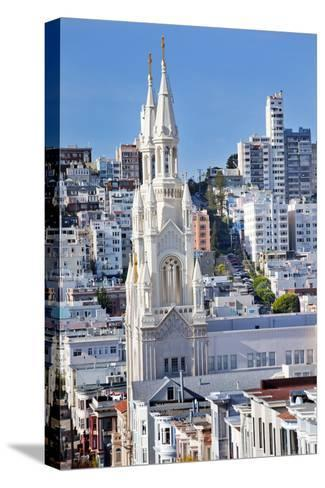 Saint Peter and Paul Catholic Church Steeples Houses San Francisco, California-William Perry-Stretched Canvas Print