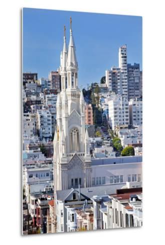 Saint Peter and Paul Catholic Church Steeples Houses San Francisco, California-William Perry-Metal Print