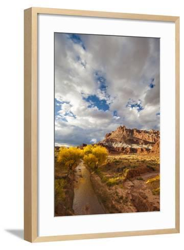 Capital Reef National Park. Autumn Reflections, the Castle and Sulphur Creek-Judith Zimmerman-Framed Art Print