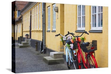 Denmark, Zealand, Soro, Traditional Danish Houses, Sogade Street-Walter Bibikow-Stretched Canvas Print