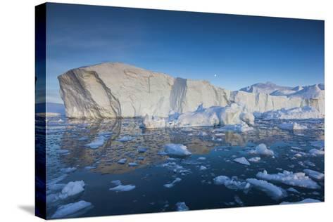 Greenland, Disko Bay, Ilulissat, Floating Ice at Sunset-Walter Bibikow-Stretched Canvas Print