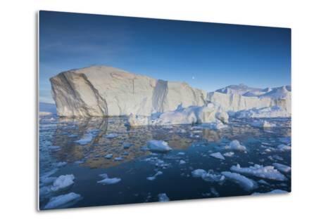 Greenland, Disko Bay, Ilulissat, Floating Ice at Sunset-Walter Bibikow-Metal Print