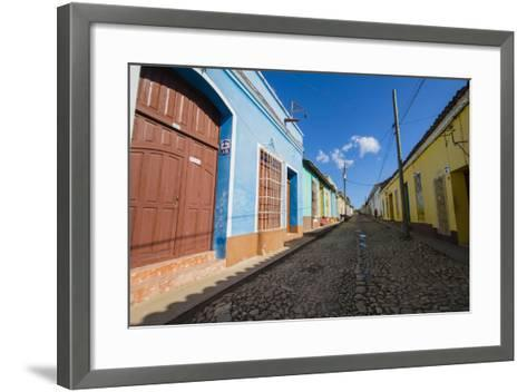 Cuba. Casa Particulares Line the Street, Shown by their Particular Logo Above the Street Number-Inger Hogstrom-Framed Art Print